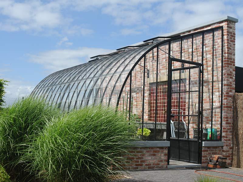 tuinserre kopen aanbouw gebogen dak smeedijzer dbg classics