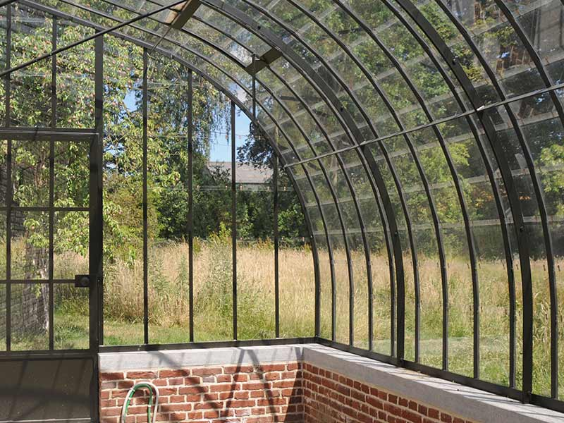 dwarf wall lean to greenhouse curved wrought iron roof glass dbg classics