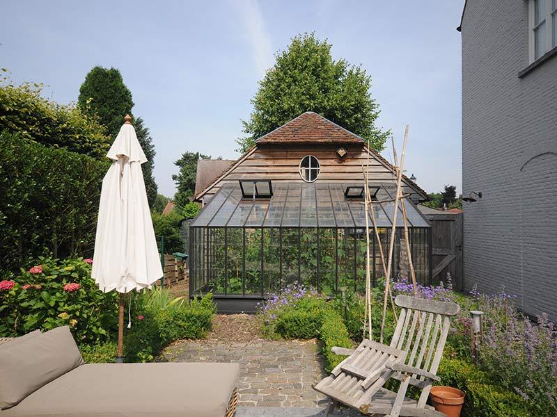 kweekkas tegen muur houten tuinhuis dbg classics