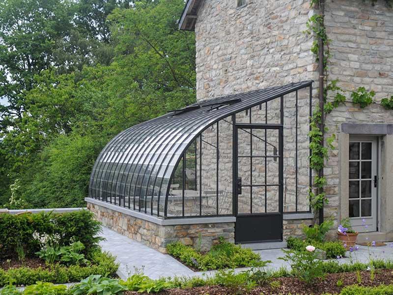 veranda orangery lean-to sidewall of rustic home dbg classics