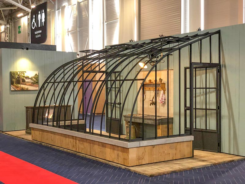 lean-to conservatory in stylish ironwork stand fair maison&objet paris september 2018