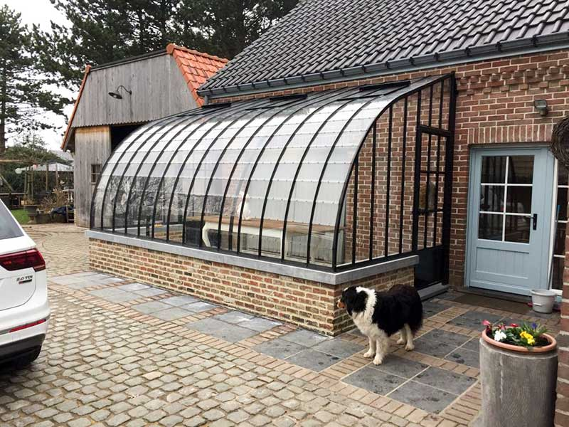 kitchen orangery extension glass and wrought iron arched roof DBG Classics