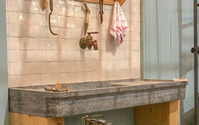 vintage tools and worktop in natural stone decoration wrought iron greenhouse