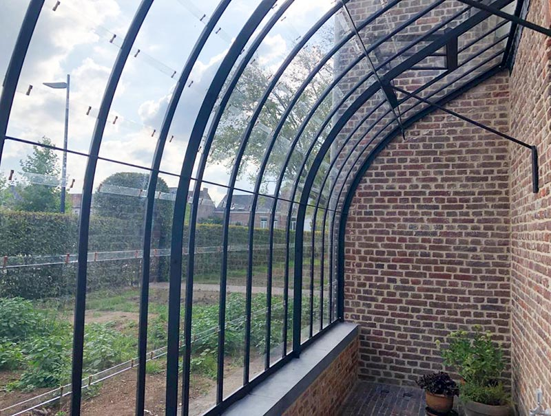 beautiful curved roof profiles vintage look dwarf wall lean to greenhouse dbg classics