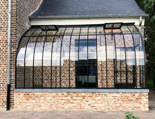 Dwarf wall lean-to greenhouse as versatile covered forecourt in wrought iron