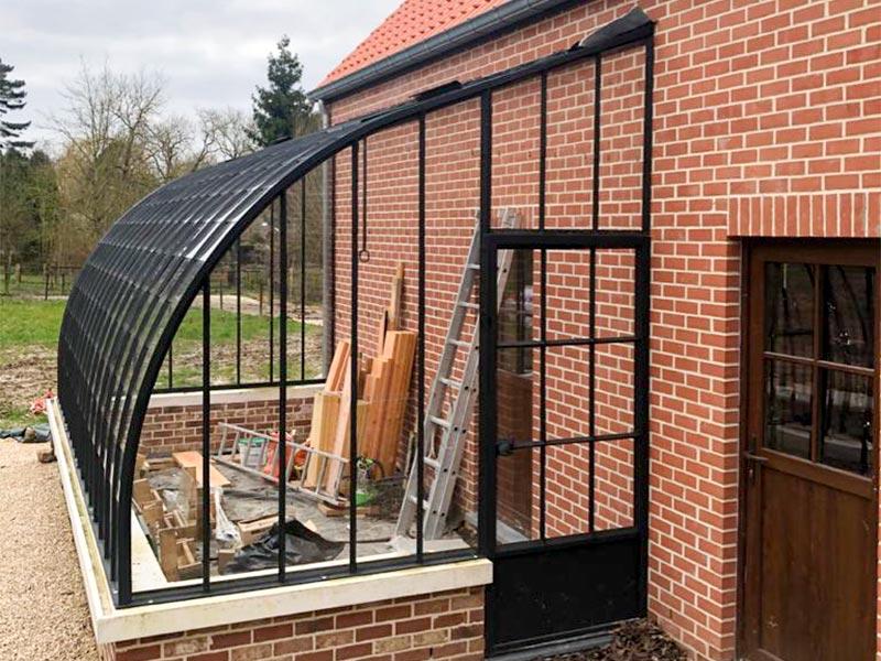entree et porte serre rustique attenante en verre et profils en fer forge dbg classics