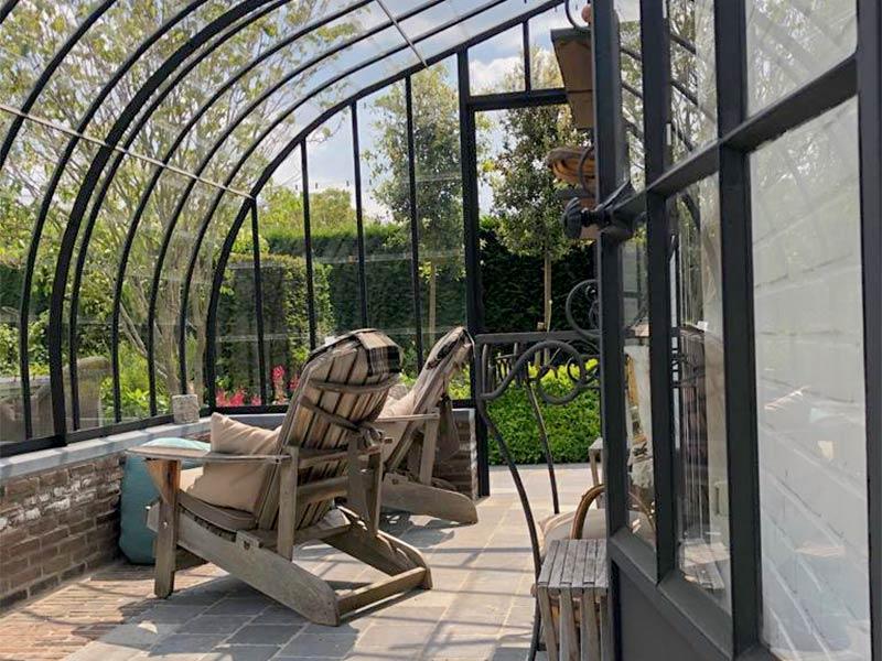 elegante veranda als terrasoverkapping unieke ontspannende rustplaats in de tuin op terras dbg classics