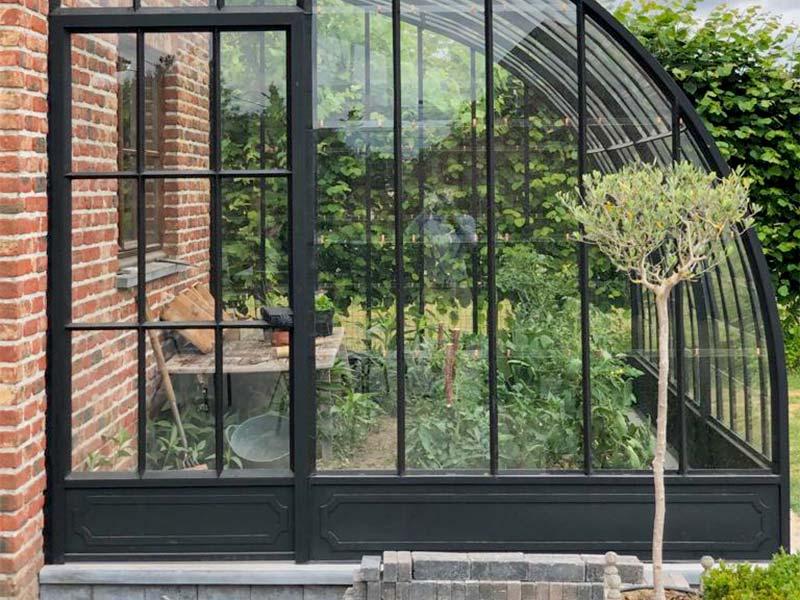 door and entrance of semi circular wrought iron greenhouse beautiful nice profiles dbg classics